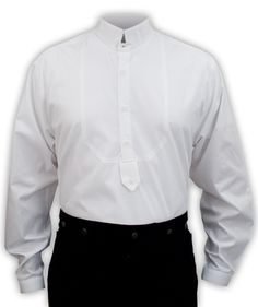 Refreshingly respectable, dress to your station with this fancy victorian men's dress shirt with a stylish high stand collar.