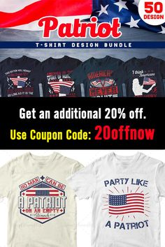 50 Editable Patriot T-shirt Design Bundle, use these designs for the 4th of July, Memorial Day, etc. Also Great for Print on Demand (POD), Merch by Amazon, Red Bubble, Etsy, etc. #etsytshirts #merchbyamazon #redbubble #tshirtdesigns #4thofjuly #independenceday #patriots T Shirt Design Template, Vector Format, Patriots, Design Bundles, Cool T Shirts, Funny Tshirts, Bubble, Shirt Designs, Dog