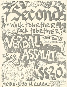 7 Seconds @ Metro, Chicago December 1986 w/ Verbal Assault,Ruin and Punk Poster, 7 Seconds, Music Flyer, Concert Posters, Ruin, Flyers, Ss, Core, December
