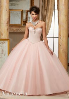 Morilee Valencia Quinceanera Dress 60005 JEWELED BEADED SATIN BODICE ON TULLE BALL GOWN Matching Stole. Colors Available: Scuba Blue, Scarlet, Blush, White Color of this dress: Blush