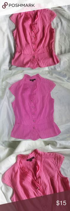 BCBGmaxazria Button Down Pink Blouse This cute top from BCBGmaxazria is in great condition! The color is pink and has very short sleeves (pic 8).  Size tag reads '2' and fits like a small. No rips, stains, or tears, but is a little worn; still in great condition! 97% cotton 3% lyca. BCBGMaxAzria Tops Blouses