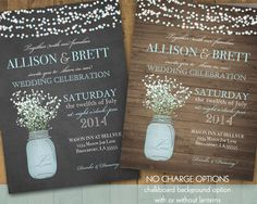Mason Jar Wedding Invitation Suite - Rustic Country Baby's Breath in blue mason jar - Country Wedding Invitations | Optional Paper Lanterns