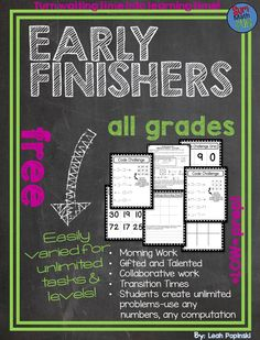 Free - This math early finishers and gifted resource is a life saver! It is easily differentiated for any computation, any level, and works for rational and irrational numbers. It is even low-prep. Students create their own problems for an endless supply Math Early Finishers, Early Finishers Activities, Fast Finishers, Math Activities, Teacher Resources, Children Activities, Third Grade Math, Fourth Grade, Second Grade