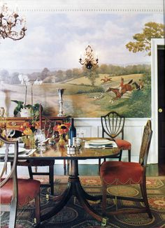 Bunny Williams anchored this Federal style dining room on a Federal needlepoint rug.