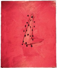 "JULIAN SCHNABEL.  ""I Don't Want to Be King, I Want to Be Pope"", 1977.  oil and wax on canvas, 78 x 52"","
