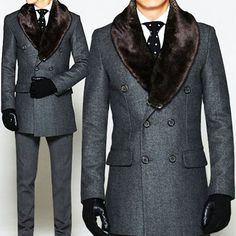 "Tattee Boy Clothes | Men's ""Churchill"" Faux Rabbit Double Tweed Coat"