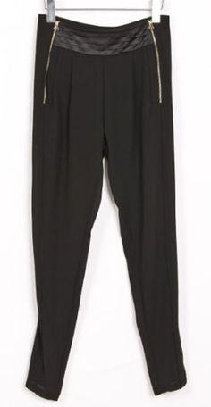 Black Pleated Metal Zipper Pocket Chiffon Harem Pant