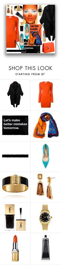 """color challenge"" by ztugceuslu ❤ liked on Polyvore featuring Courrèges, Franco Ferrari, Tim Holtz, Thierry Mugler, Gianvito Rossi, Robert Lee Morris, Yves Saint Laurent, Rolex, Elizabeth Arden and Grown Alchemist"