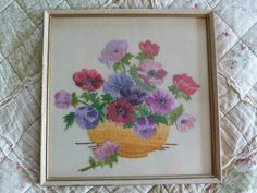 Vintage Embroidered Picture, framed embroidery, silk embroidery, 1920s anemones, bowl of flowers, hand embroidered, floral embroidery by NansCottageVintage on Etsy