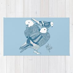 Blue Pigeons Rug Pigeon Rug Birds Bath Mat by LushTartArtProject, $58.00