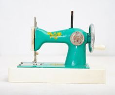 Sea Green Vintage Toy Sewing Machine - Made in USSR