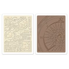 Sizzix - Tim Holtz - Alterations Collection - Texture Fades - Embossing Folders - Airmail and Compass Set at Scrapbook.com