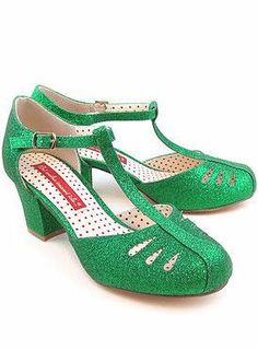 Adorable T-Strap green colored heels by But Another Innocent Tail (B.A.IT.)! Super sparkly with a chunky comfortable heel and cute cutout details on the toe! 100% man made materials Heel height: 2 3/8