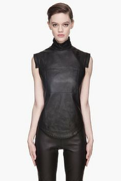 GARETH PUGH Black buffed leather blouse on shopstyle.com