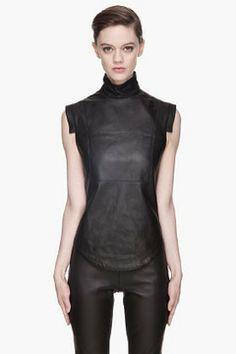 GARETH PUGH Black buffed leather blouse on shopstyle.com