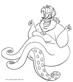 The The Little Mermaid coloring pages called Ursula witch to coloring. This evil character in the Disney movie The Little Mermaid is Ursula the sea witch. She is responsible for Ariel human legs, but in exchange for her beautiful voice Ariel Coloring Pages, Toy Story Coloring Pages, Mermaid Coloring Book, Unique Coloring Pages, Unicorn Coloring Pages, Cartoon Coloring Pages, Free Printable Coloring Pages, Colouring Pages, Coloring Pages For Kids