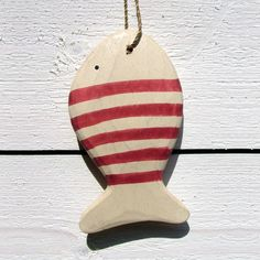wooden fish - red stripes - click to view