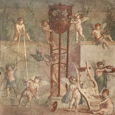 "not-so-nerdyy: ""Just another day @ Apollo's day care center s-c-r-ee-ch: ""Erotes playing with Apollo's belongings Roman Fresco found in Herculaneum, Pompeii "" "" They're literally just messig with. Ancient Pompeii, Pompeii And Herculaneum, Pompeii Ruins, Ancient Greek, Pompeii History, Pompeii Italy, Décor Antique, Roman Art, Fresco"