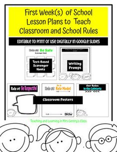 Get your students actively engaged and collaborating with these first week of school lesson plans, hand outs and posters to teach your classroom and school rules at the beginning of the year. Or use as a review mid-year, or after a long break to refresh your students' memories of the classroom expe... Classroom Expectations, Classroom Rules, Classroom Posters, School Scavenger Hunt, Positive Behavior, School Lessons, Writing Activities, Teaching Tools, First Day Of School