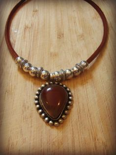Tribal Carnelian Pendant Necklace with by sweetfreedomshop on Etsy