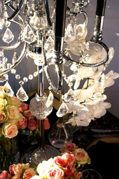 Decor It has been designing many of Melbourne's glamorous and visually stunning weddings, parties and events. Wedding Lunch, Crystal Candelabra, Wedding Decorations, Table Decorations, Bling Wedding, Event Decor, Pink Roses, Centerpieces, Wedding Planning