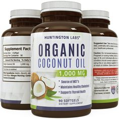 Pure Natural Coconut Oil - Food-Grade Capsules - Organic & Extra Virgin - Helps Prevent Hair Loss and Promotes Hair Growth - Provides a Healthy Energy Boost - Effective for Weight Loss - USA Made by Huntington Labs: Health & Personal Care Natural Coconut Oil, Pure Coconut Oil, Benefits Of Coconut Oil, Raspberry Extract, Raspberry Ketones, Energy Supplements, Natural Supplements, Coconut Oil Pills, Natural Fat Burners