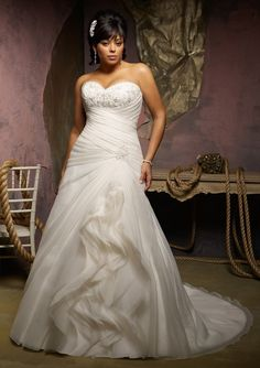 Plus size wedding dress from Julietta by Mori Lee Beaded Embroidery on Organza - check out the rest of the wedding dresses here! blossomsbridal.com