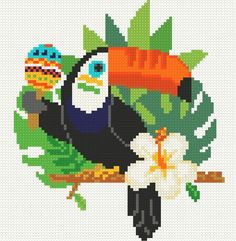 Fun toucan with maraca Exotic bird cross stitch pattern PDF Modern toucan art Diy cross stitch Small Easy cross stitch Mini Cross Stitch, Simple Cross Stitch, Cross Stitch Charts, Cross Stitch Designs, Cross Stitch Embroidery, Embroidery Patterns, Cross Stitch Patterns, Easy Cross, Bird Patterns