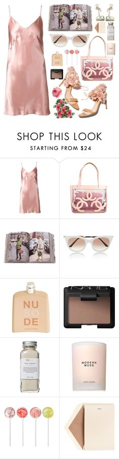 """""""Slip It On"""" by finding-0riginality ❤ liked on Polyvore featuring Fleur du Mal, Rupert Sanderson, Chanel, Penguin Group, Thierry Lasry, COSTUME NATIONAL, NARS Cosmetics, Très Pure, Estée Lauder and Dempsey & Carroll"""