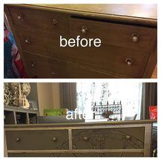 Silver leaf clock dresser. Painted Furniture, Dresser, Flat Screen, Clock, Silver, Projects, Watch, Log Projects, Lowboy