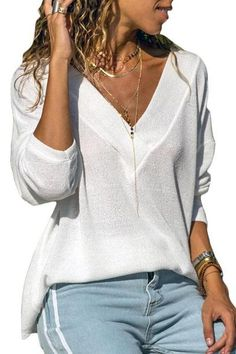 Shop a great selection of Women's Knit Tunic Long Sleeve V-Neck Loose Casual Pullover Tee T-Shirt Tops S-XXXL. Find new offer and Similar products for Women's Knit Tunic Long Sleeve V-Neck Loose Casual Pullover Tee T-Shirt Tops S-XXXL. Shirt Bluse, Knit Shirt, Blouses For Women, Sweaters For Women, T Shirts For Women, Casual Sweaters, Funny Sweaters, Winter Sweaters, Christmas Sweaters