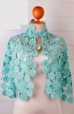 Share Knit and Crochet: Crochet sky blue shawl