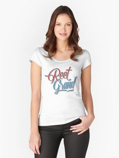 Northern #English #Yorkshire slang - Reet Grand women's fitted scooped neck t-shirt, also available in many more styles of #hoodies and #tshirts #redbubble #slang #dialect