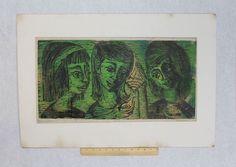 1950s Mid-Century Vintage HELENE ROSS Woodcut Woodblock Print, Sea Shells NR #Modernism