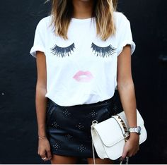 printed tee // leather skirt