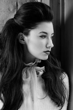 """""""I prepared the hair for a high glamour shoot that would offer control and versatility. Once the foundation was established, we used additional styling and finishing products as the looks evolved,"""" said Miller. The long hair styles, captured in black and white, are romantic and ethereal."""