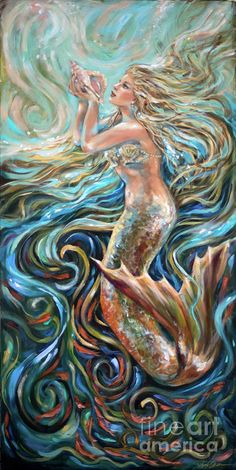 Shop for mermaid art from the world's greatest living artists. All mermaid artwork ships within 48 hours and includes a money-back guarantee. Choose your favorite mermaid designs and purchase them as wall art, home decor, phone cases, tote bags, and more! Fantasy Mermaids, Unicorns And Mermaids, Real Mermaids, Mermaids And Mermen, Mermaid Artwork, Mermaid Drawings, Mermaid Tattoos, Mermaid Paintings, Siren Mermaid