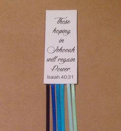 10 Bible Book Marker Ocean Blues JW.org Gift idea 2018 Year Text Isaiah 40:31 #InspiredRibbons