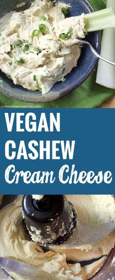 Vegan Cashew Cream Cheese 1 cup raw cashews, soaked in water hours 2 tbsp. n… Vegan Cashew Cream Cheese 1 cup raw cashews, soaked in water hours 2 tbsp. Vegan Cheese Recipes, Vegan Cream Cheese, Vegan Sauces, Vegan Foods, Vegan Dishes, Dairy Free Recipes, Raw Food Recipes, Vegan Gluten Free, Vegetarian Recipes