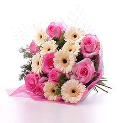 Pink Café Bouquet with Diamanté Wrapping - £39.99