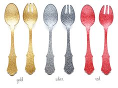 @Peaches - the glitter won't come off so you can use these with food - there's also glitter spoons and cake servers. hooray!