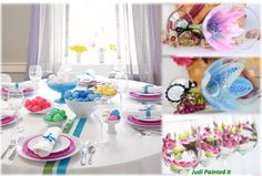 Hand painted wine glasses adds extra color and beauty to a bright Easter dinner table setting