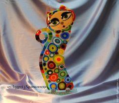 """Статуэтка """"Гламурная кошка"""", стекло,фьюзинг  примерно 30х15см. Handmade.  Автор - Андрей Калашлинский Украина, Одесса"""