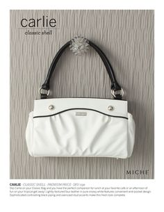 Carlie-classic white bag with silver accents and black stitching...oh so classy!  MICHE http://alisons.miche.com