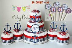 Nautical Diaper Cake Nautical Baby Shower Sailboat Theme