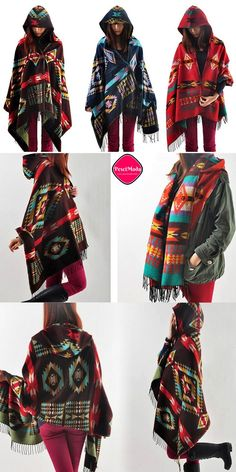 Product Description: New Winter Boho Fashion Woman's Multicolor Wool Blend Cape / Poncho with Hood, It can also be used as Cloak or Shawl. Material: Wool Blend, 3 Colors for your choice: Red, Dark Bro