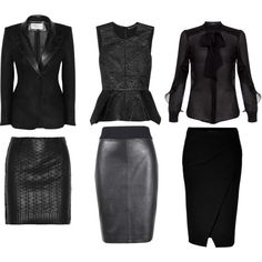 Shades of Black: Office Sets by fortheloveofblueshoes on Polyvore featuring Etro, Elizabeth and James, Yves Saint Laurent, White + Warren, Donna Karan and Lanvin