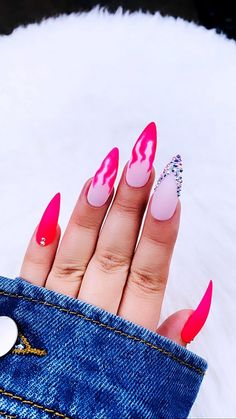 Neon Pink Flame NailsPress on Nails Pink Nails Fake Nails Bright Summer Acrylic Nails, Neon Pink Nails, Pink Acrylic Nails, Acrylic Nail Designs, Barbie Pink Nails, Pink Stiletto Nails, Matte Pink, Orange Nails, Orange Pink