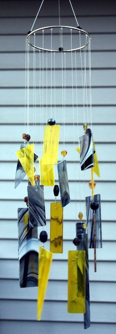 Stained Glass Windchime Black  and Yellow