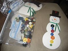 Snowman's hat has a number on it that the kids match using buttons :) Could adapt to CC Math standards. They could make combinations for the number on the hat